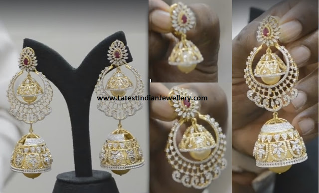 3 in 1 Diamond Jhumkas