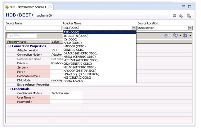 SAP Hana Smart Data Access (SDA) – Basic Configuration