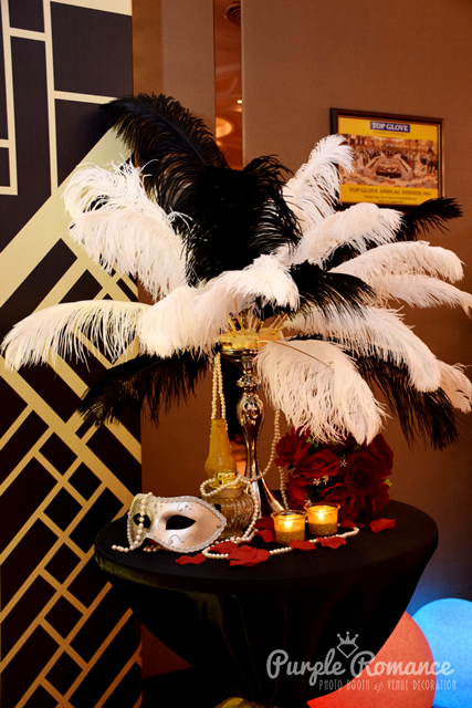 event decoration, photo booth, instant print service, gatsby, black and white, gold, backdrop vendor, setup, top glove, hao xiang che, restaurant, ballroom, elegant, cny dinner, product launching, peacock feathers, mask, masquerade, 2018 events