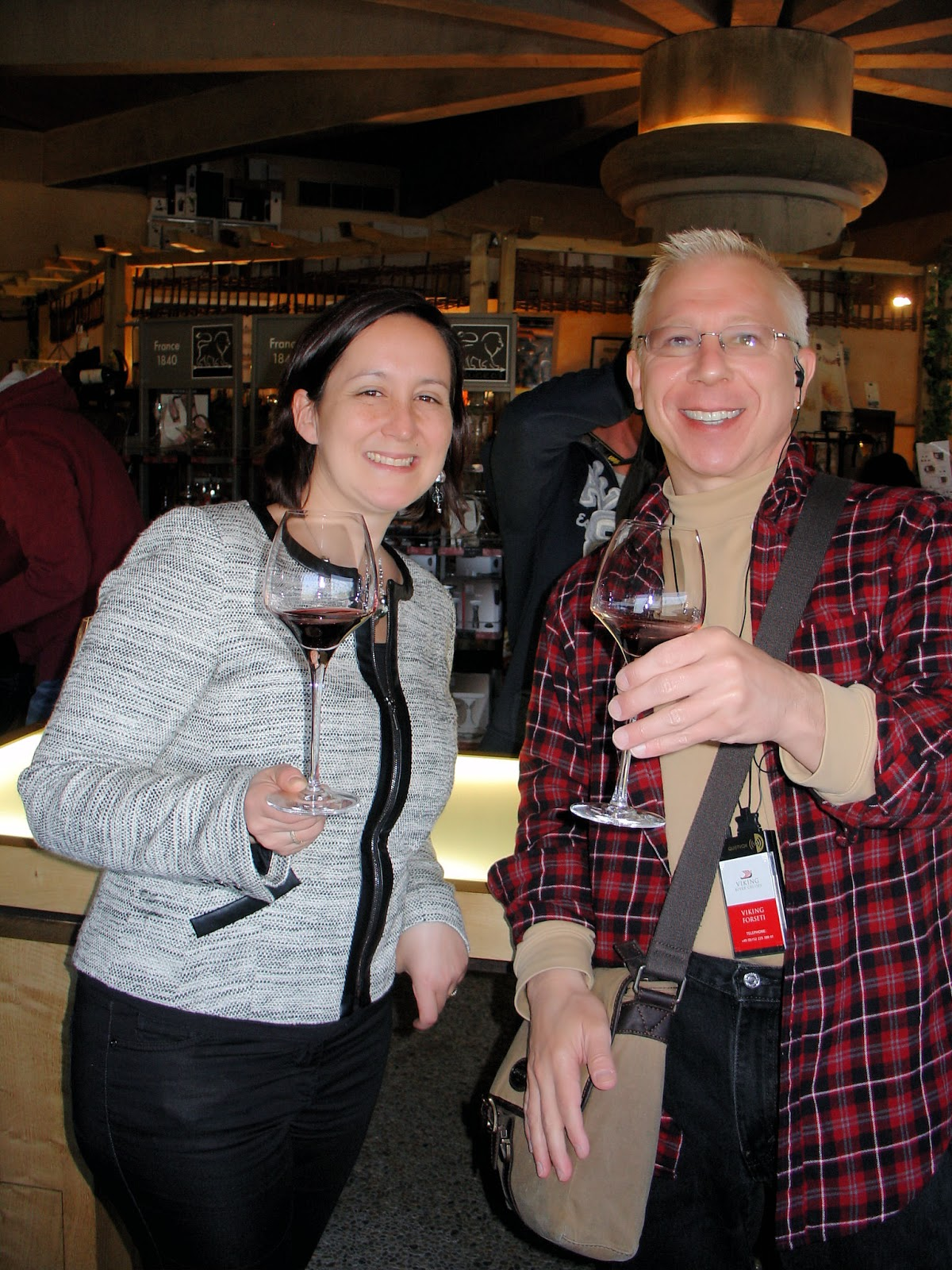At the end of the tour, we tasted the chateau's three vintages. Here I am with our guide, Lætitia Guix de Pinos.
