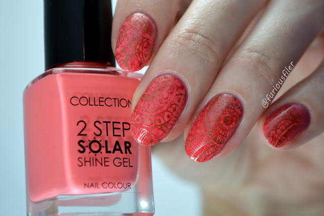 nail art challenge chrome copper pattern mandala red