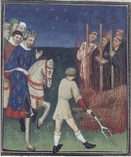 Ejecución de caballeros Templarios ante Felipe el Hermoso. Ilustración del manuscrito de Boccaccio «Des cas des nobles hommes et femmes»