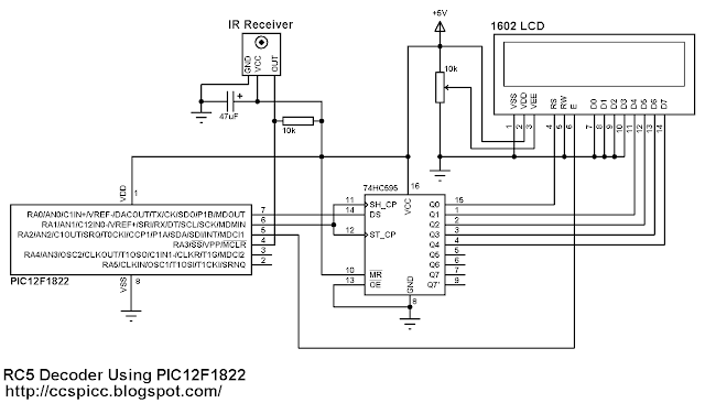 RC5 IR Remote Control Decoder with PIC12F1822 microcontroller circuit