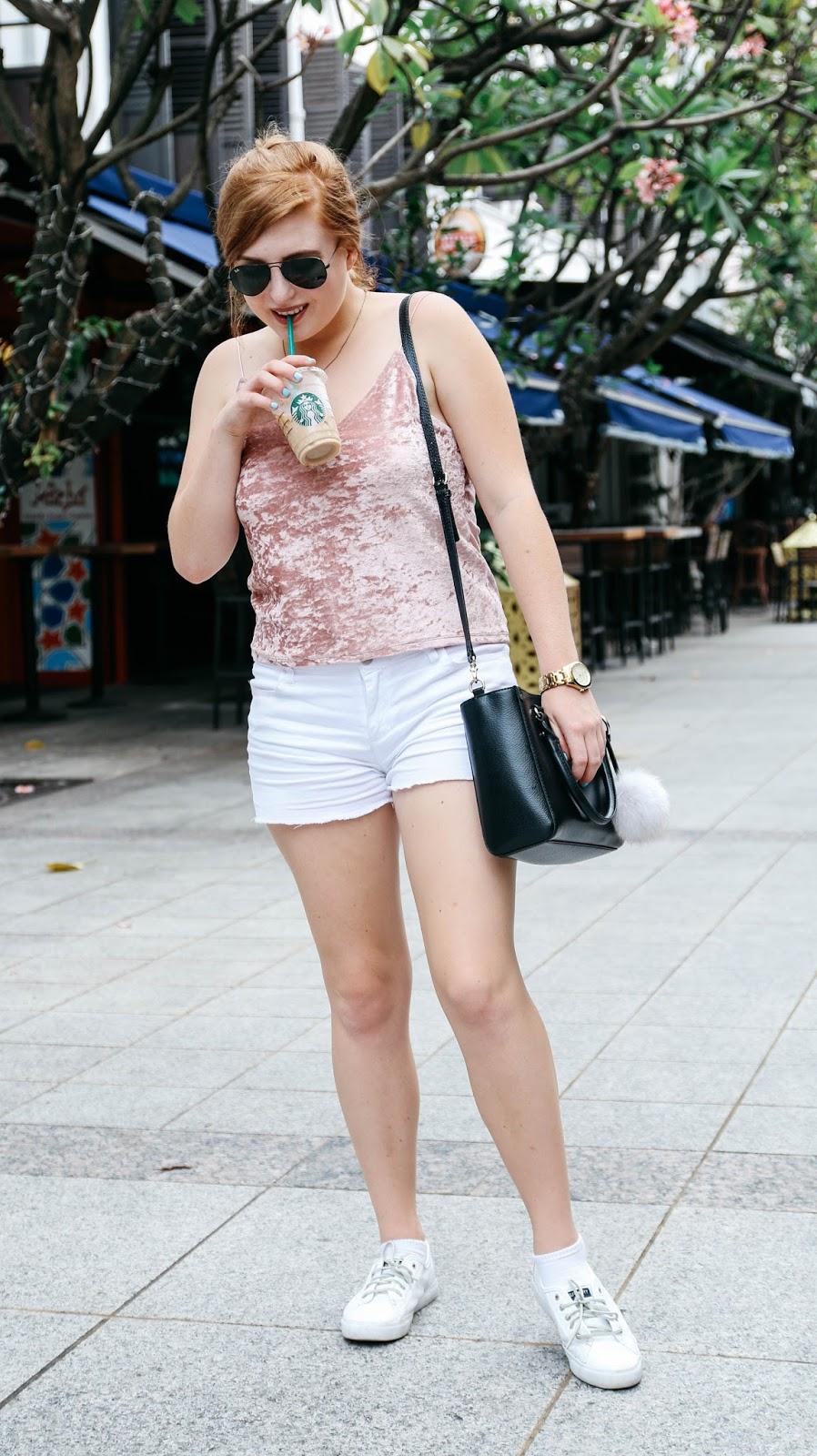 Blush Pink Velvet Top for Valentine's Day | GlobalFashionGal Blog by Brianna Degaston