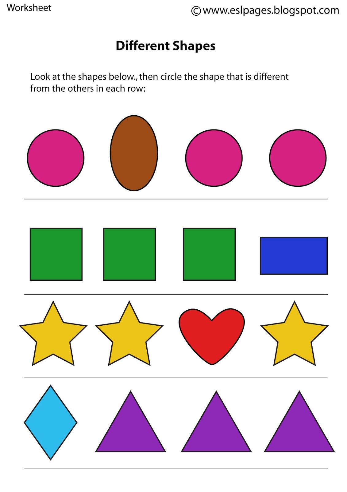 DiffrShapes - Shape Worksheets For Kindergarten