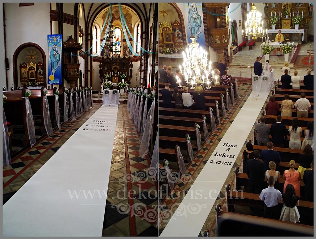 Biały dywan ślubny z imionami Młodej Pary