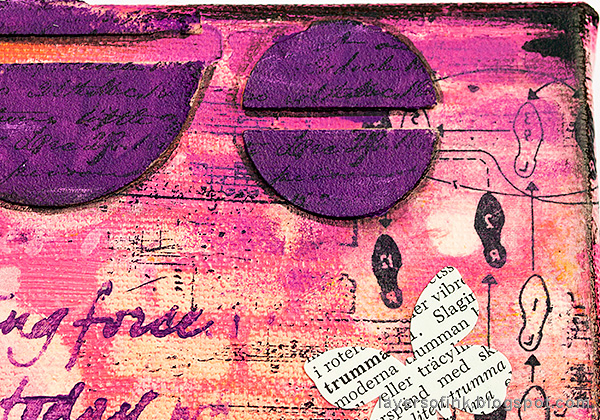 Layers of ink - Mixed Media Layers with Stencils and Stamps Canvas Tutorial by Anna-Karin Evaldsson, dictionary butterflies