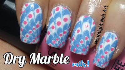 Drag Dry Marble Nail Art. Needle or Toothpick Design Tutorial.