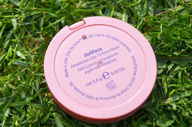 Image of Dollface blusher upside down sharing the information on the bottom of the compact