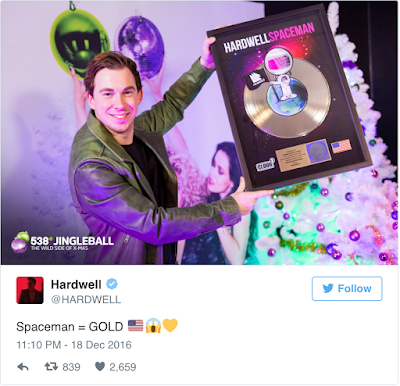 Hardwell 榮獲 RIAA 金獎認證