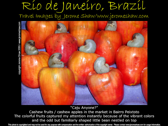 Cashew fruits / cashew apples in the market in Bairro Peixtoto Photo by Jerome Shaw http://www.JeromeShaw.com