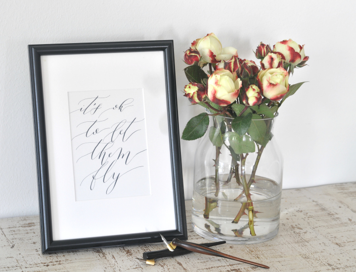 Free Printable 'It's ok to let them go', hand-drawn Calligraphy