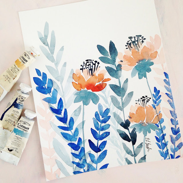 Four original watercolor flower paintings by Elise Engh.  Fire Flowers in blue and orange.
