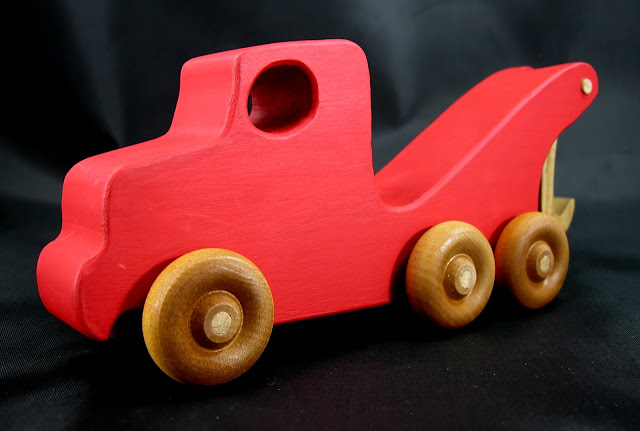 Handmade Wooden Toy Tow Truck From The Quick N Easy 5 Truck Fleet - Red Version - Left Front View