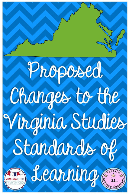 The Virginia Studies Standards of Learning have been updated and revised, by the Virginia Department of Education, for the 2016-2017 school year. Find out the changes the major changes that are coming to Virginia Studies so that you can prepare!