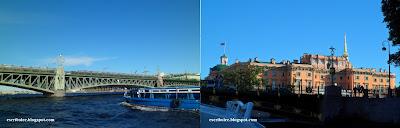 Viaje a Rusia: San Petersburgo: crucero por los canales: Puente de la Trinidad y Castillo de San Miguel