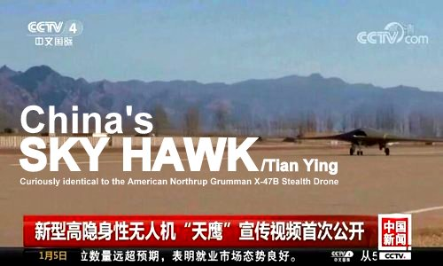 Image Attribute: China shows its futuristic stealth drone in flight for the first time / Source: CCTV Screengrab