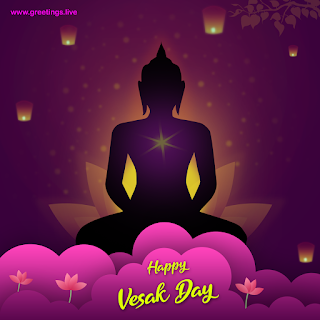 """Happy vesak day"" Buddha Jayanti vesak lanterns lotus flowers"