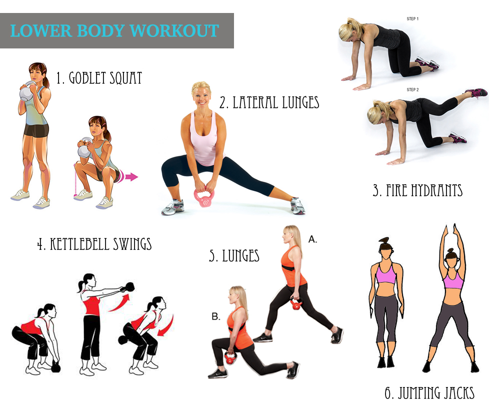 Lower body workout with kettlebell