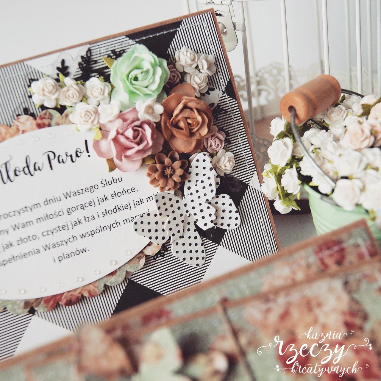 Ślubna kartka schodkowa ręcznie wykonana.
