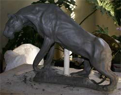 ceramic wildlife sculpture tutorials, clay panther sculpture demonstration
