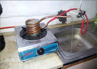 water heating jugaad