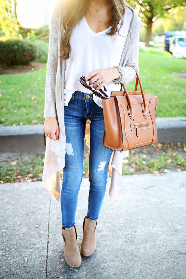 ripped jeans, cardigan for a perfect fall outfit