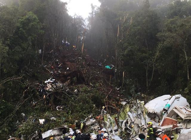 Acidente com Avião do  Time da Chapecoense cai na  Colômbia apenas Cinco Sobreviventes