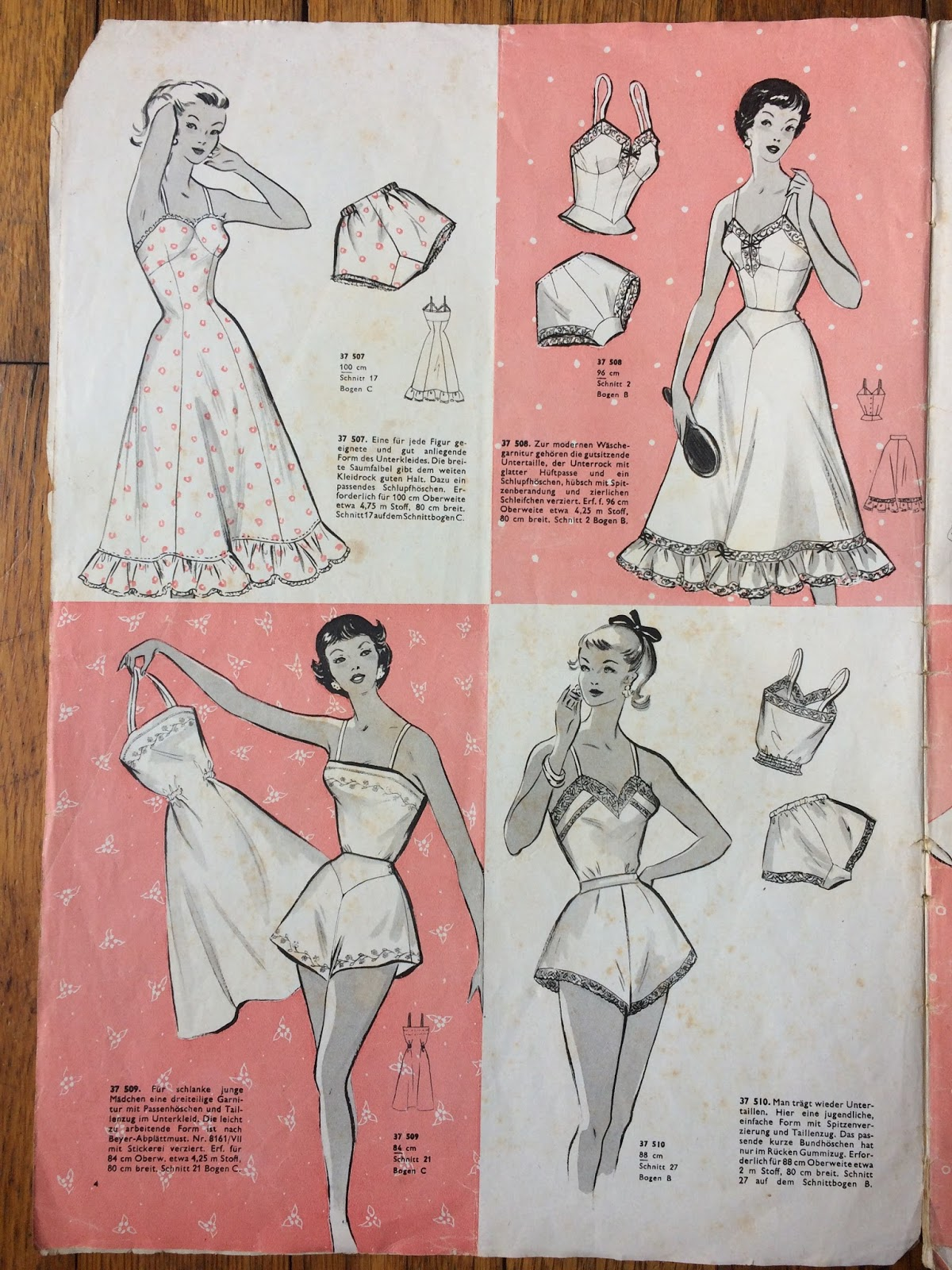 Side By Side 80 Cm Breit Beyers Wäscheheft Sewing Vintage Undergarments And Pajamas For
