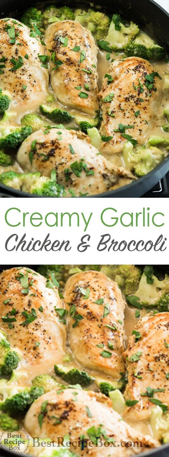 SKILLET CREAMY GARLIC CHICKEN WITH BROCCOLI #skilletcreamygarlic #garlic #garlicideas #chicken #chickenrecipes #broccoli #garlicchicken #healthyrecipes #healthyideas