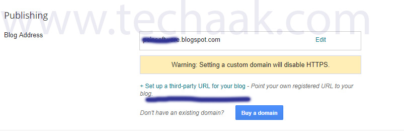 Click on +setup a third party URL for your blog