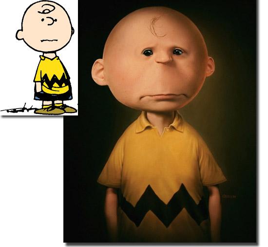 Personagens de desenhos como se fossem de carne e osso - Charlie Brown