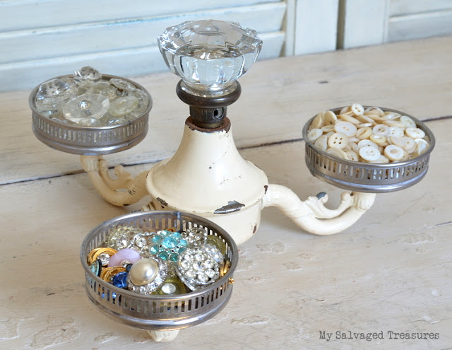 vintage buttons coasters repurposed lamp parts