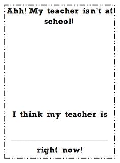 First Grade Blue Skies: My Teacher is Missing!!! Freebie