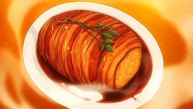 在動畫裡面的「仿冒脆皮烤肉」。圖片來源:Shokugeki no Soma Wiki(CC-BY-SA)