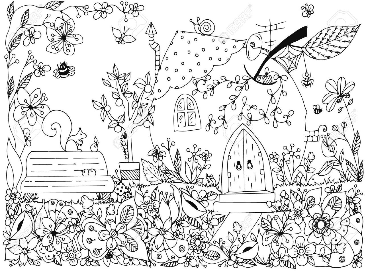 Mewarnai Gambar Kupu Kupu di Taman Bunga Untuk Anak anak