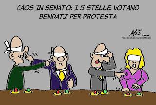 rosatellum bis, bende, m5s, senato, proteste, politica, vignetta, satira