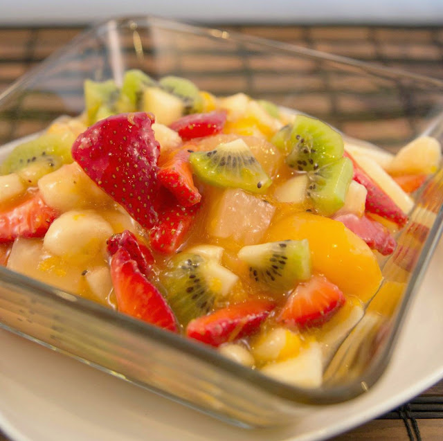 Great for breakfast, brunch or dessert! Peachy Fruit Salad Recipe from Hot Eats and Cool Reads