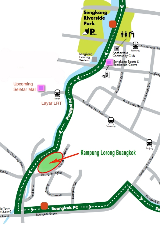 Map of the Park Connector Network and the location of the kampung at Lorong Buangkok.