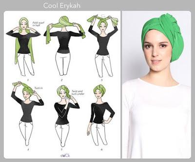 Tutorial Hijab Turban Pashmina Modern Gaya #5 Casual Menyamping