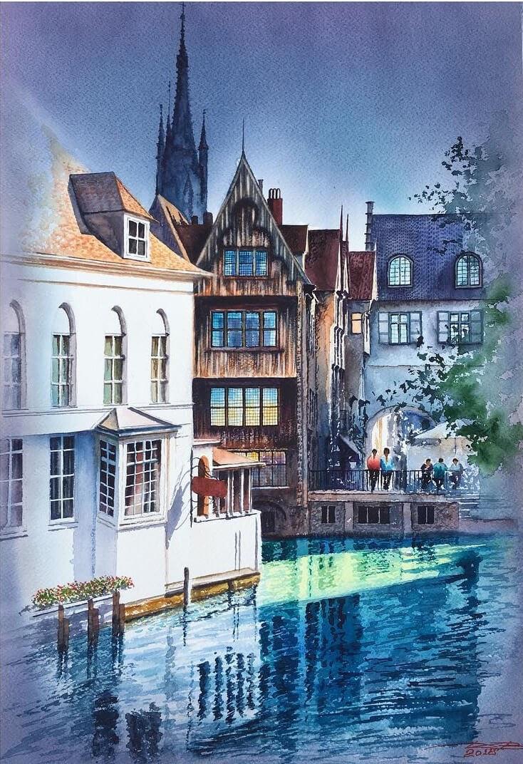 04-Bruges-Belgium-Igor-Dubovoy-Realistic-Urban-Watercolor-Paintings-www-designstack-co