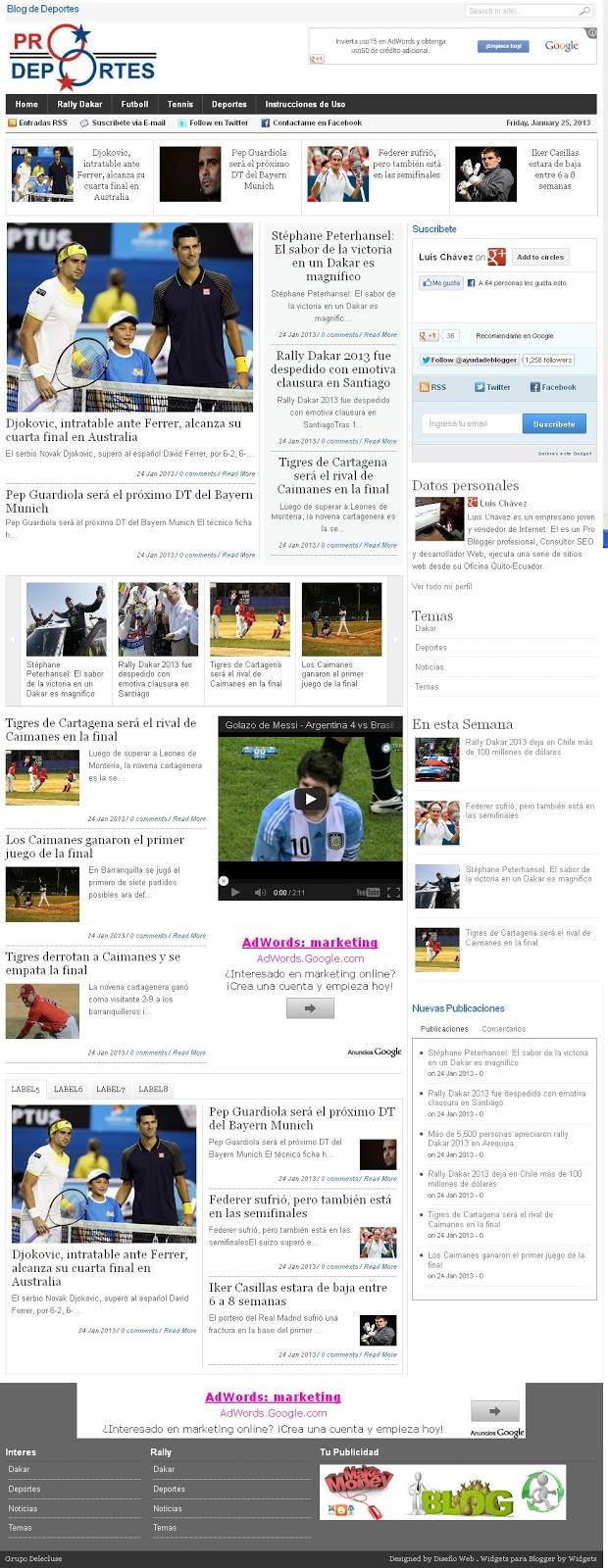 Plantillas para blogger para mi blog de deportes