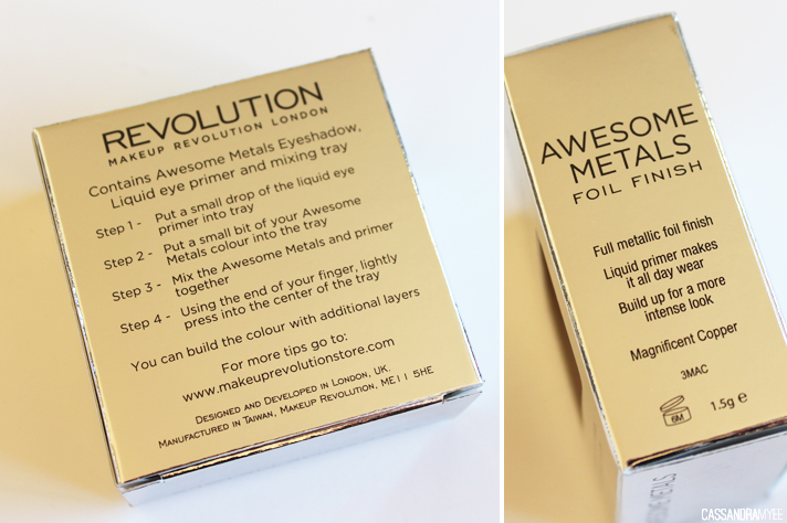 MAKEUP REVOLUTION // Awesome Metals Foil Finish Eye Shadow in Magnificent Copper - CassandraMyee