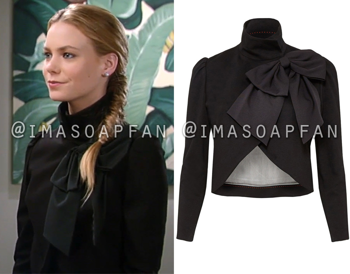 Nelle Benson, Chloe Lanier, Cropped Black Jacket with Bow Collar, Alice and Olivia, General Hospital, GH
