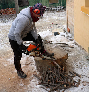 A chopping firewood