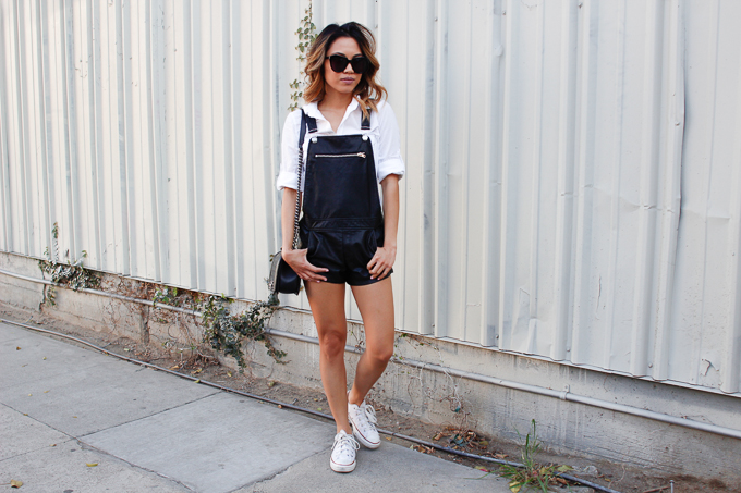 how to style faux leather overalls
