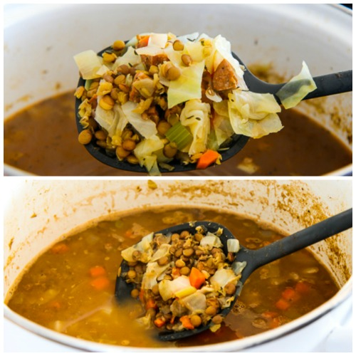 Lentil, Sausage, and Cabbage Soup with Balsamic Vinegar found on KalynsKitchen.com