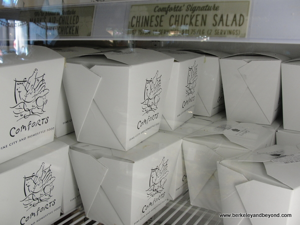 packaged Chinese chicken salad in refrigerator at Comforts in San Anselmo, California