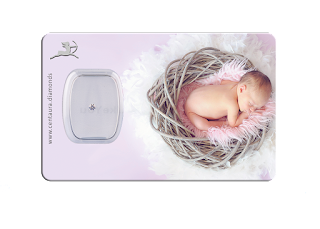 Diamant Geschenkkarte - Baby in bird nest