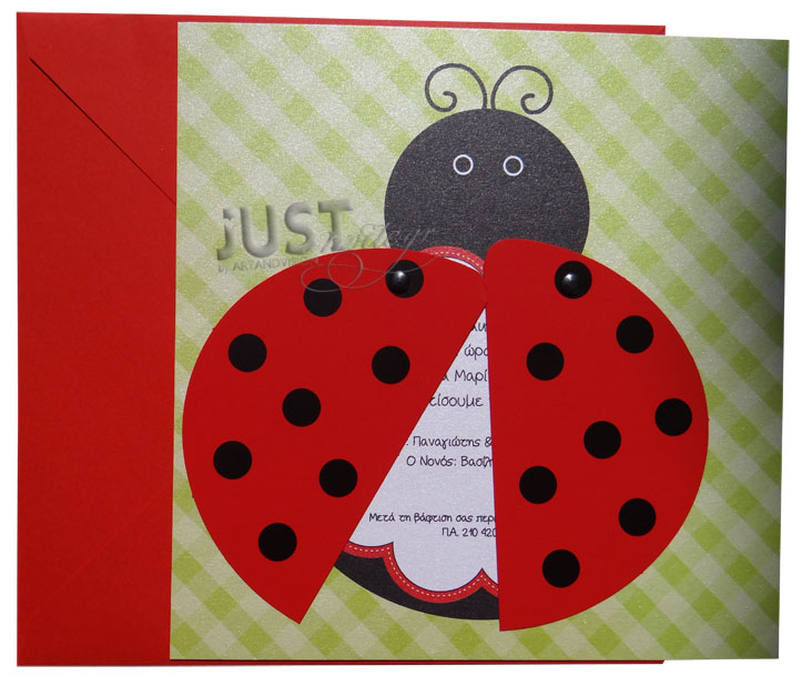 Ladybug themed Baptism invitations C1131